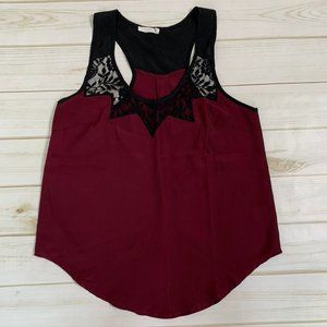 Burgundy lace tank top black maroon by Lush
